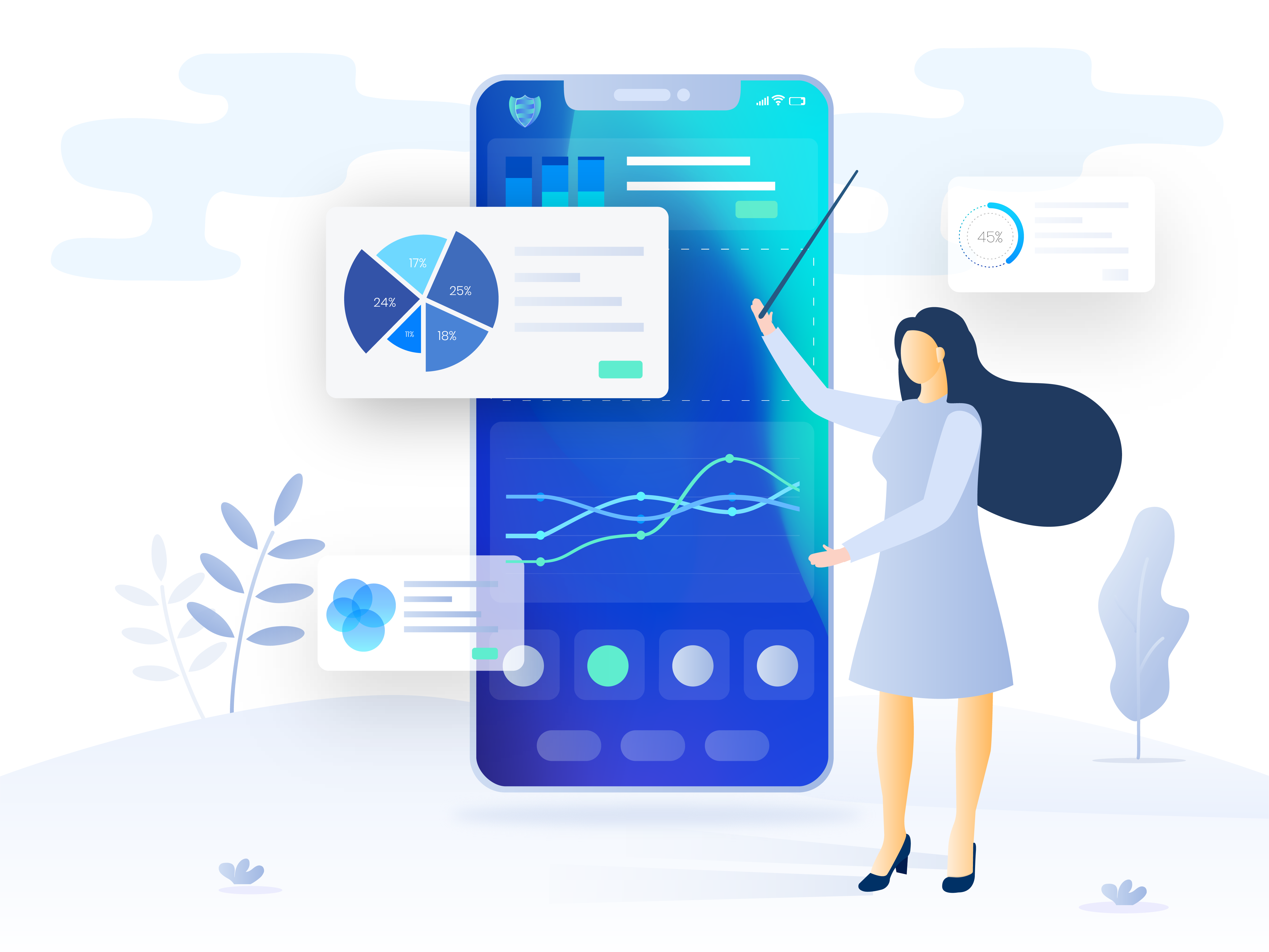 Dashboard illustration for a SaaS application
