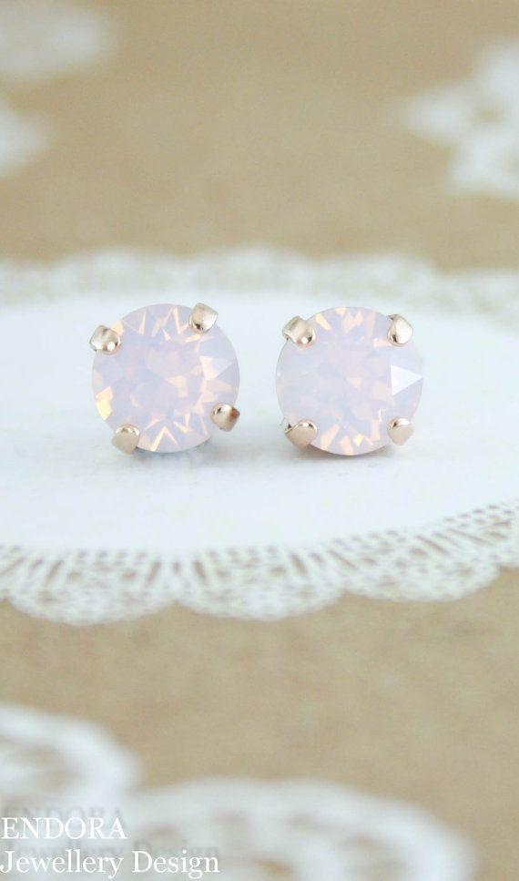 Pink Opal Earrings Stud Swarovski Rose Water Eh