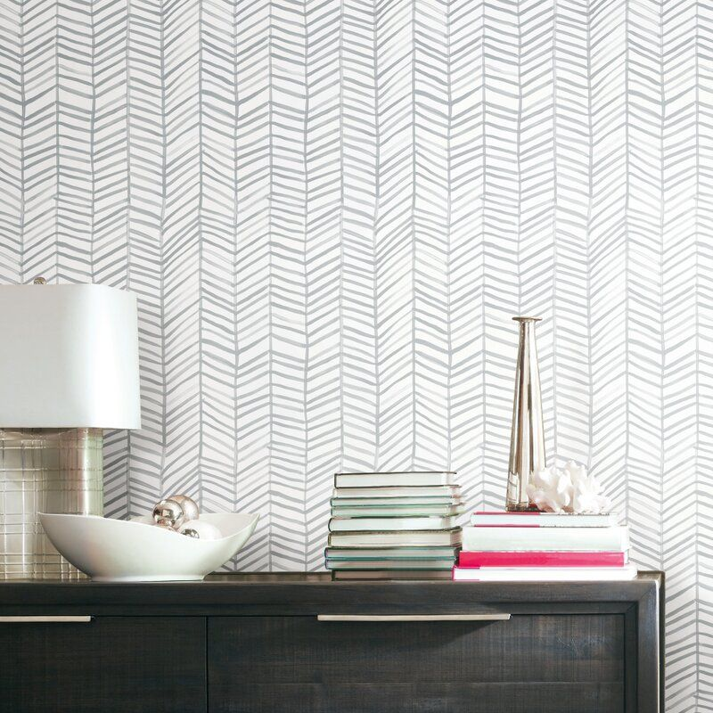 Escamilla Herringbone 20 5 L X 16 5 W Peel And Stick Wallpaper Roll In 2021 Peel And Stick Wallpaper Room Visualizer Wallpaper Roll