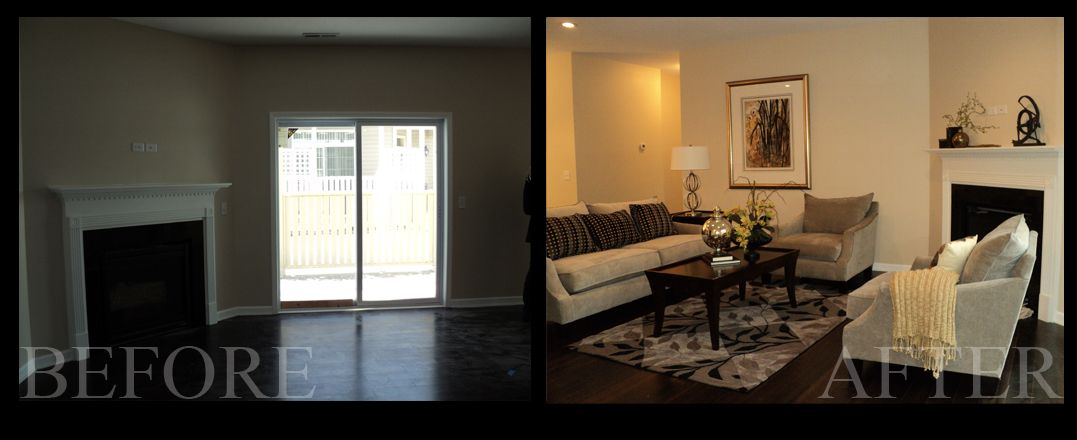 Home Staging of Living Room Before and After