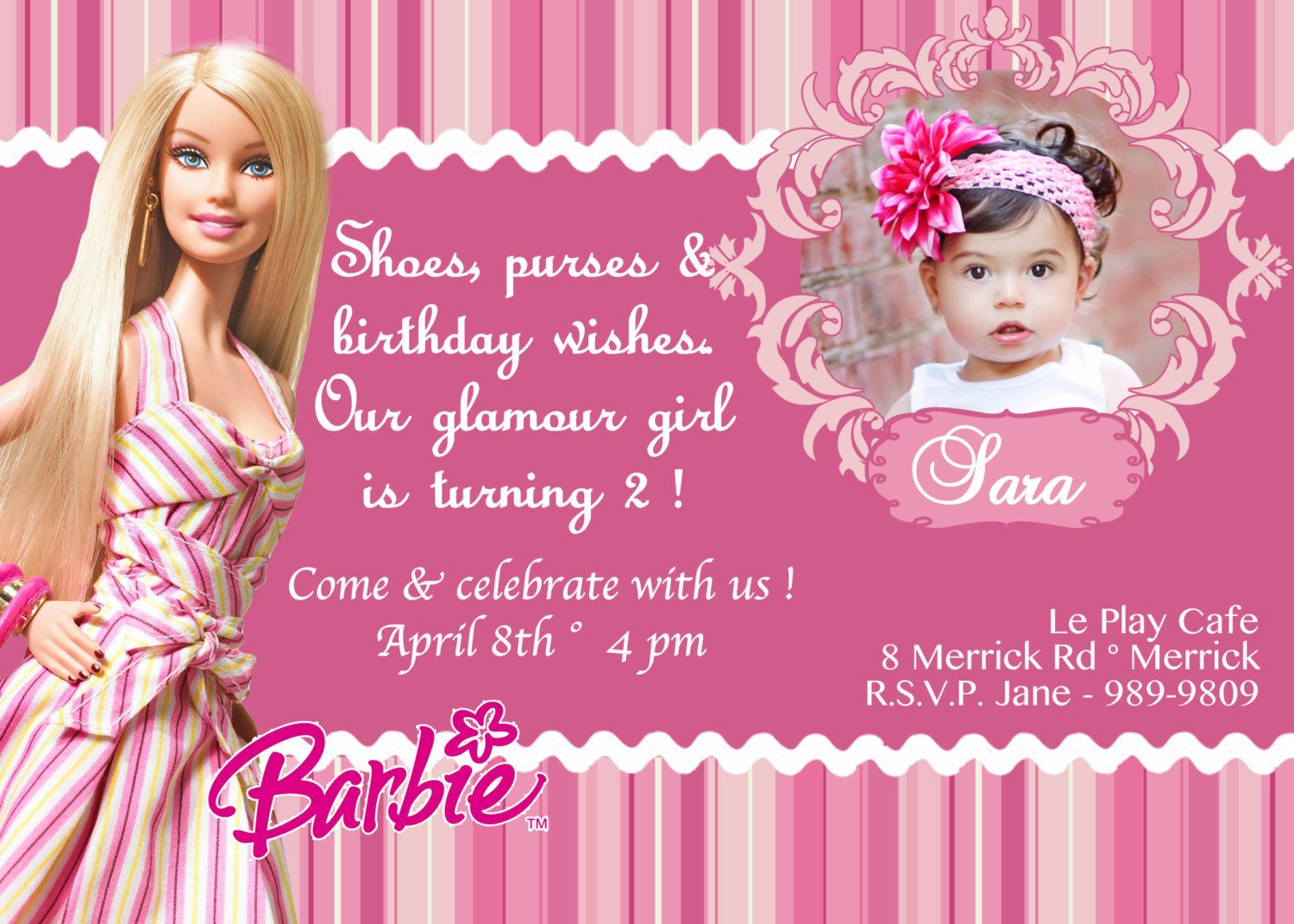 barbie birthday invitations barbie