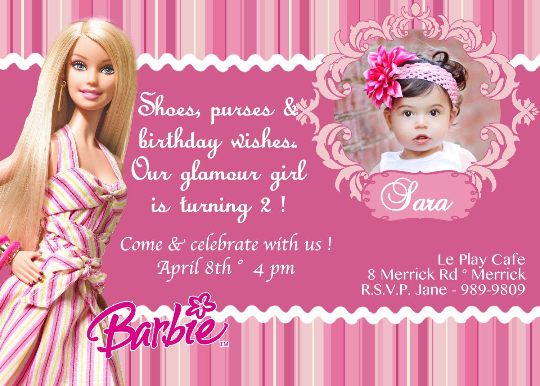 birthday invitations card pictures barbie birthday
