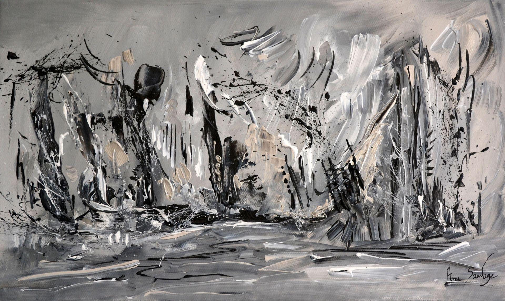 Tableau Abstrait Gris Noir Blanc Peinture Moderne Abstraite