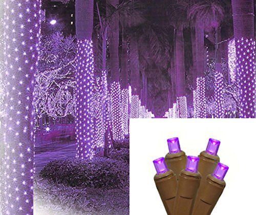 2 x 8 purple led net style tree trunk wrap christmas lights brown wire