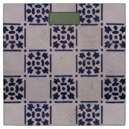 Blue White Delft Tile Art Print Pattern Bathroom Scale Bathroom