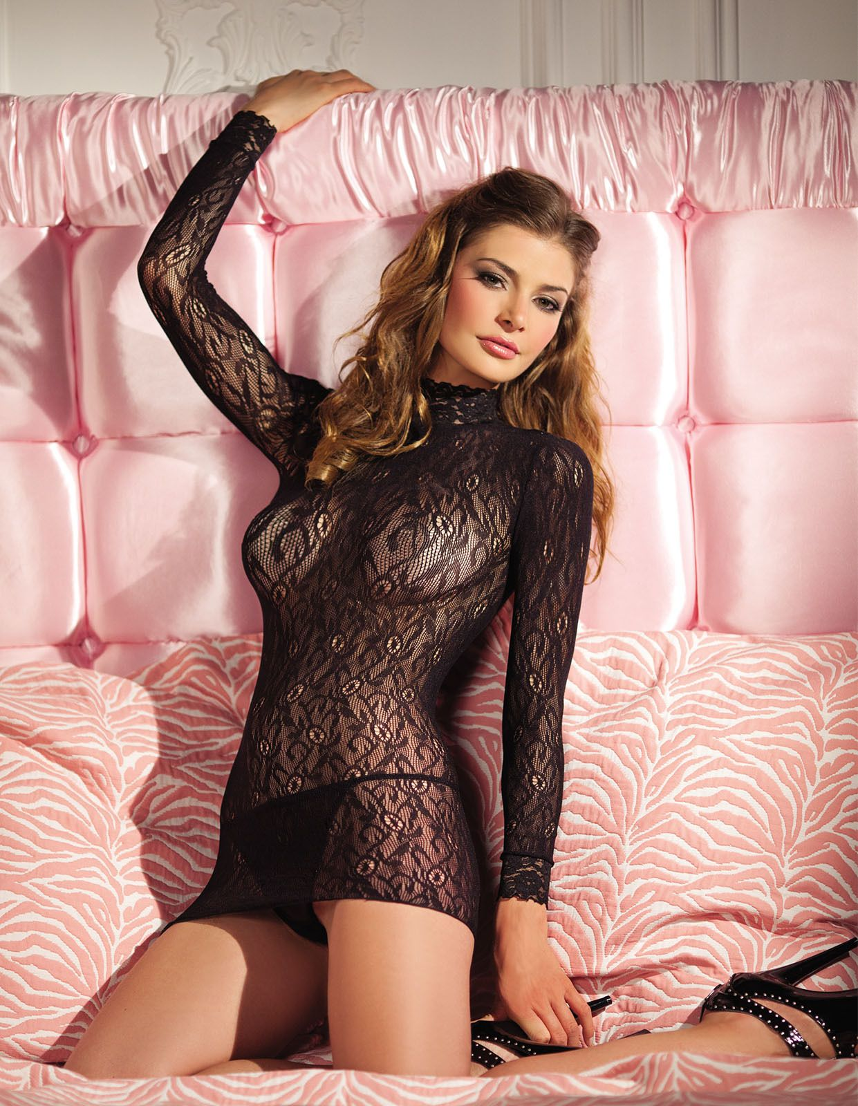 24c77be7806 Be Wicked Womens Long Sleeve Lingerie Hot Lace Turtleneck Minidress  Bodystocking