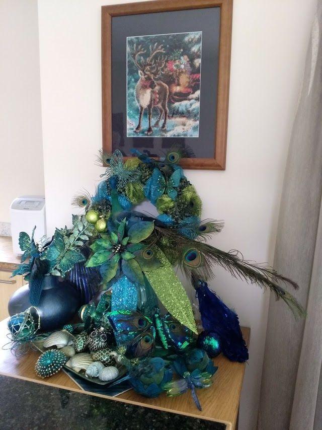 My mate\u0027s peacock themed Christmas decorations And how talented - peacock christmas decorations