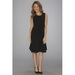 Calvin Klein - Ruffle Front Crepe Dress (Black) - Apparel - product - Product Review