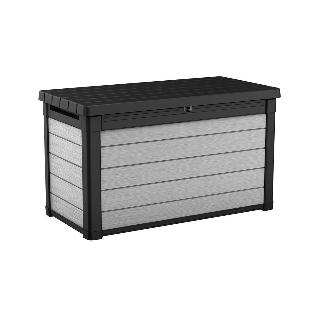 Keter Denali 100 Gal Resin Deck Box In Grey 240302 The Home Depot Resin Deck Box Deck Box Storage Deck Box
