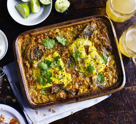 For an easy curry night dish, try this one-pot baked dhal - packed with Indian flavours and topped with white fish fillets