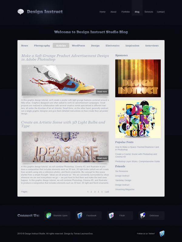 Modern and sleek blog design free psd web template free psd modern and sleek blog design free psd web template maxwellsz