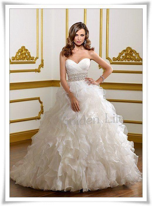 WD7415 Custom made  hot-sale 2012 new design  elegant style  Ruffle and Beaded Organza Wedding Dress/