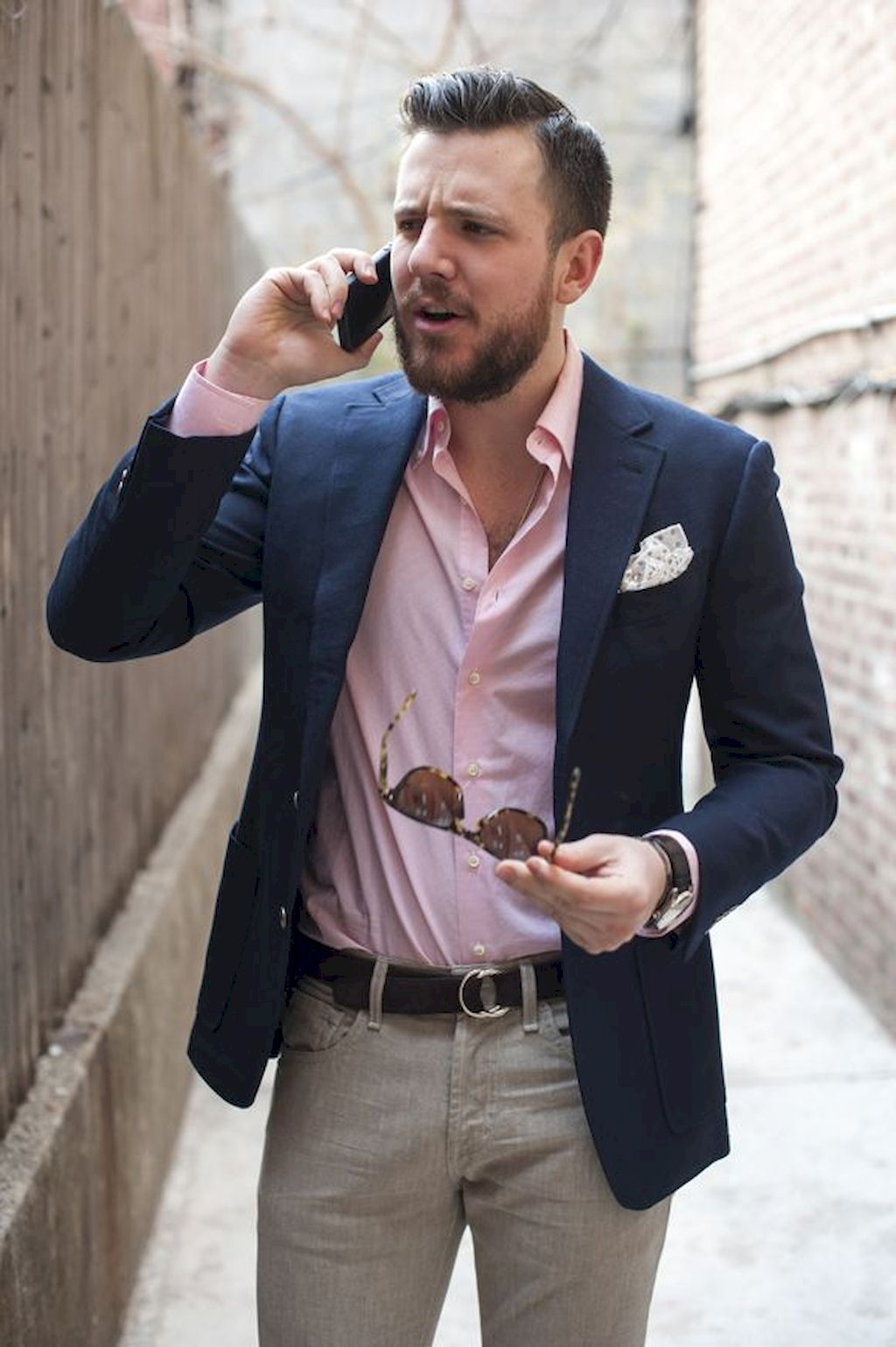 Pink dress shirt blue suit   Exclusive Menus Business with Casual Styles