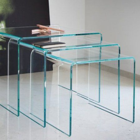 Clear bent glass nest tables 38 inch thick with 3 pieces nest clear bent glass nest tables 38 inch thick with 3 pieces watchthetrailerfo
