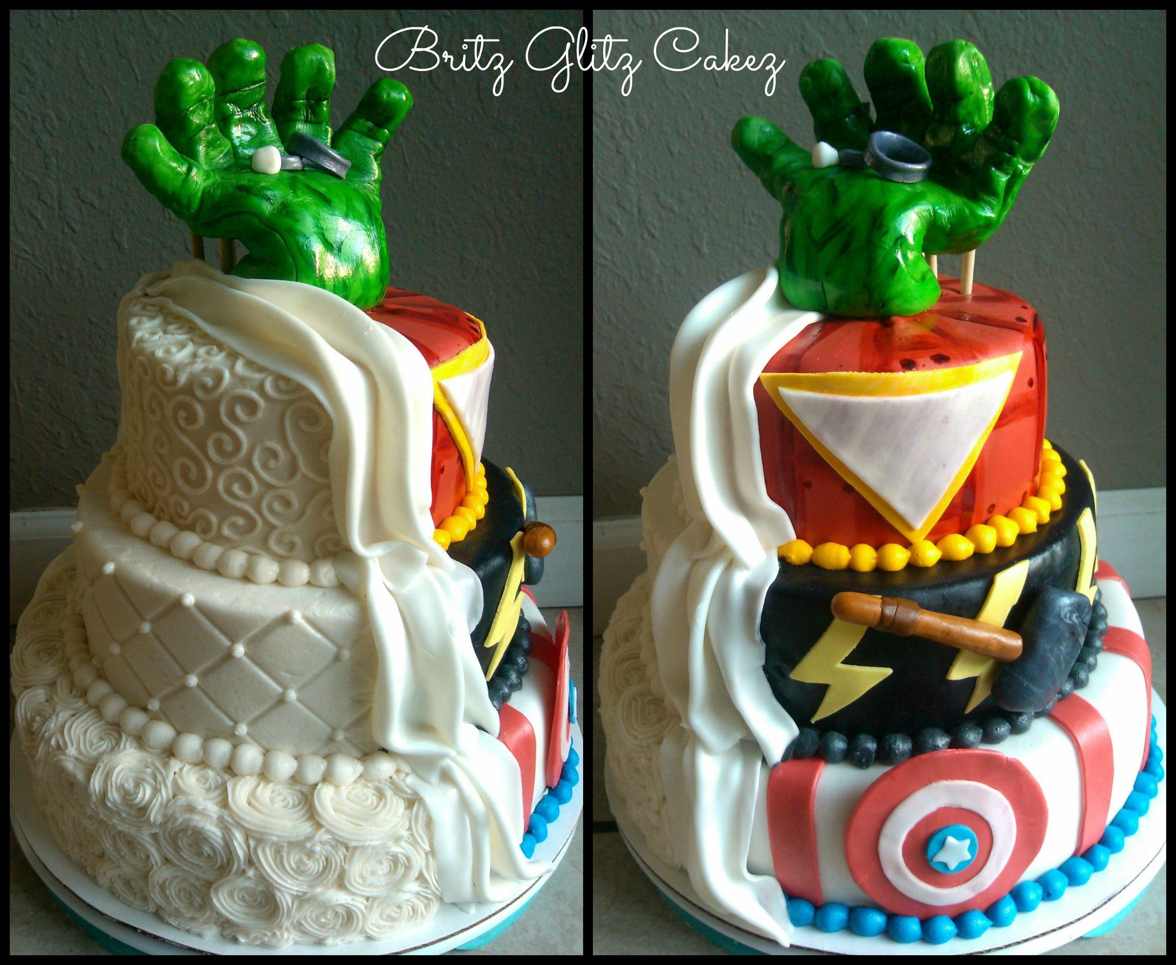 Half Wedding Cake & Half Avengers Grooms Cake! This one was fun to ...