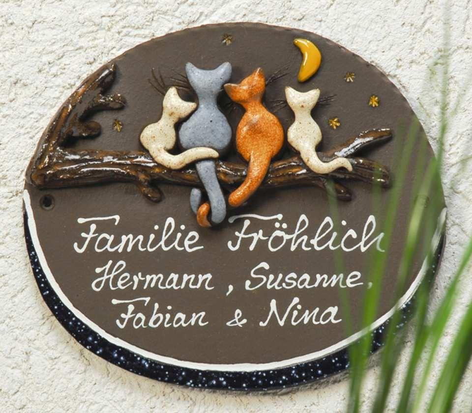Beschriftetes Keramik Türschild Katzenfamilie Die