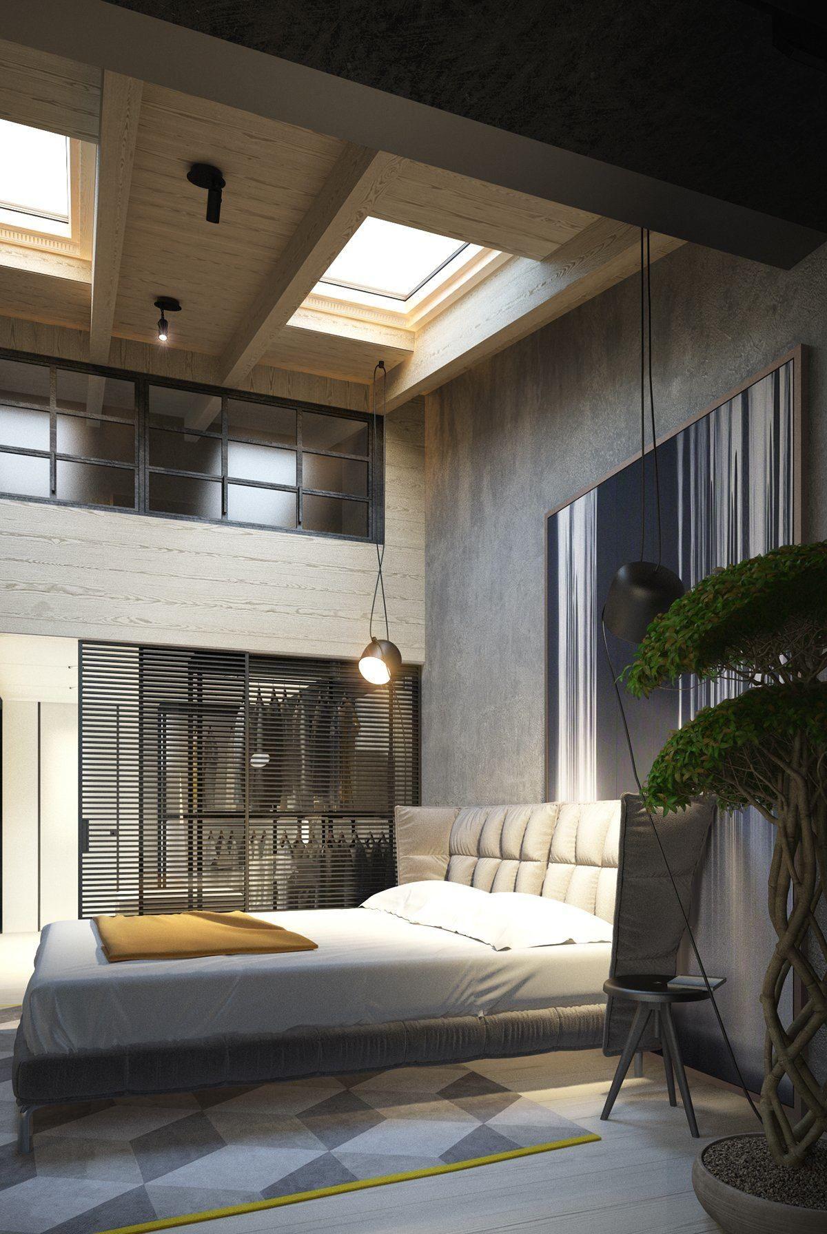 Exposed Concrete Walls Ideas Inspiration Loft Style Bedroom Concrete Interiors Bedroom Design