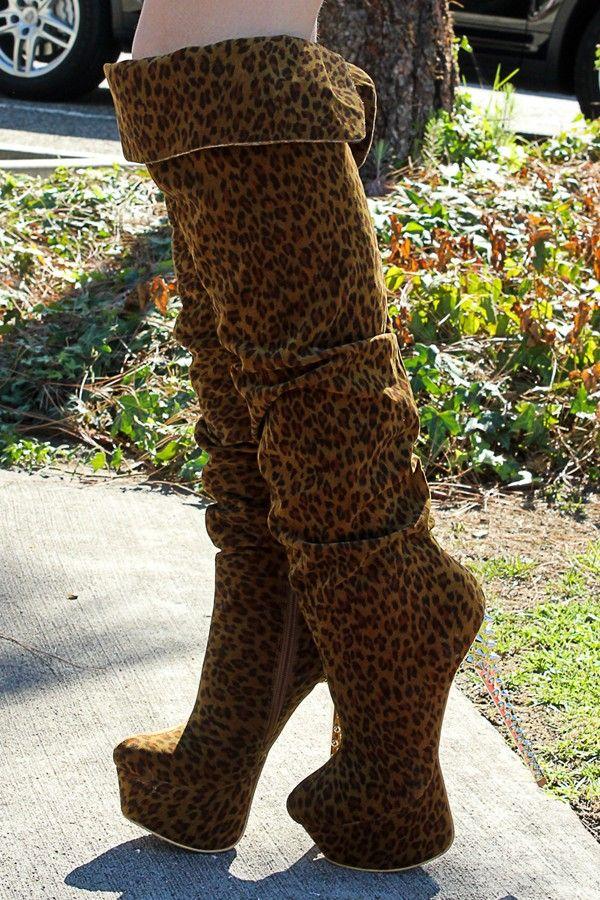 Pink Leopard Boots   Boots, Thigh high platform boots