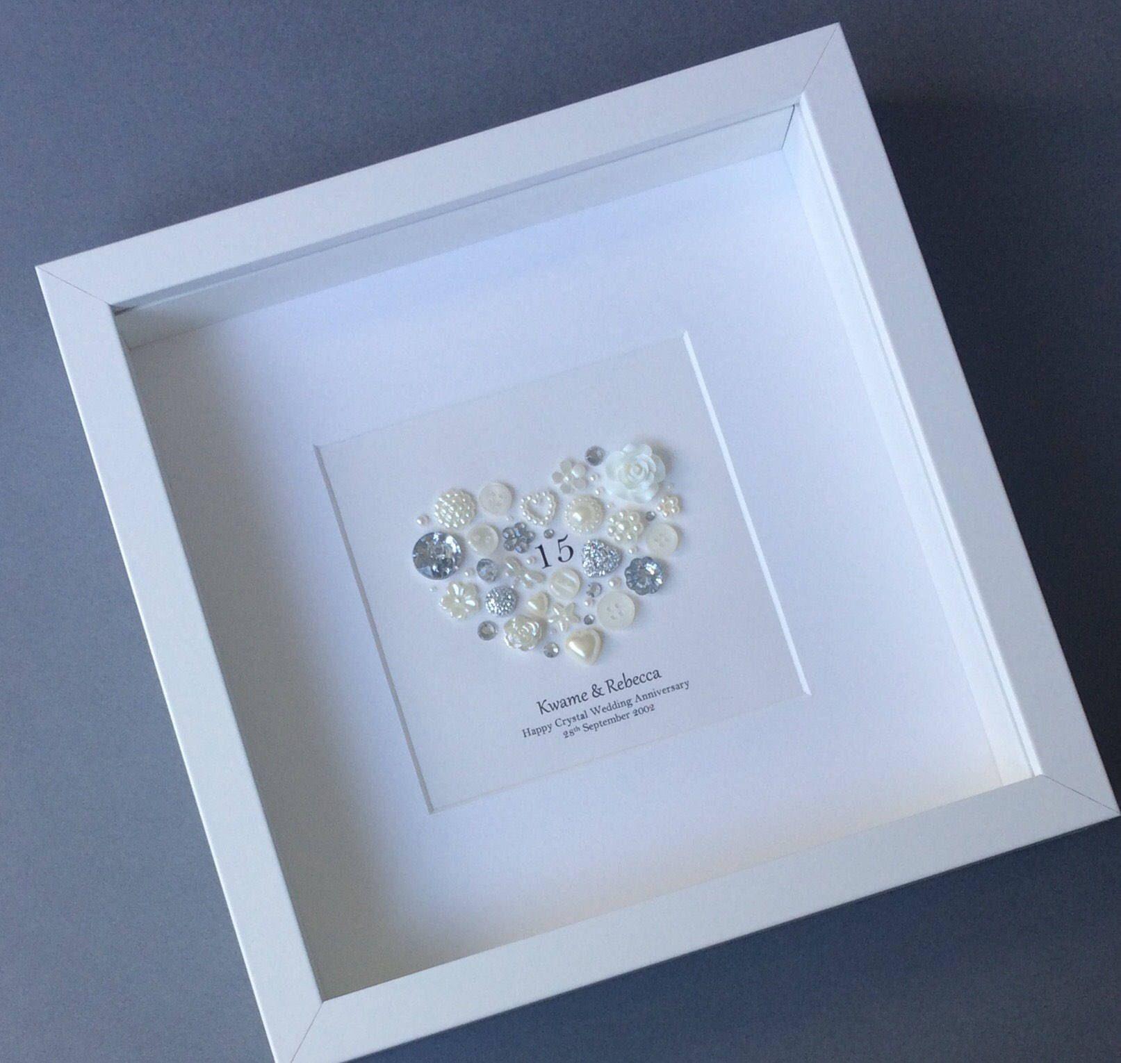 15th Wedding Anniversary Gift, Crystal Anniversary Frame