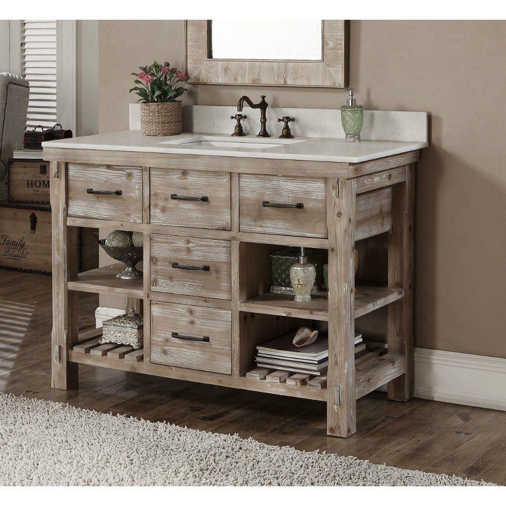 Rustic Style Dark Limestone Top 48 Inch Bathroom Vanity In 2020 Single Sink Bathroom Vanity Single Bathroom Vanity Bathroom Vanity