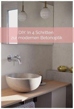 Do-It-Yourself-Anleitung In 4 Schritten zur modernen Betonoptik - kleine moderne badezimmer