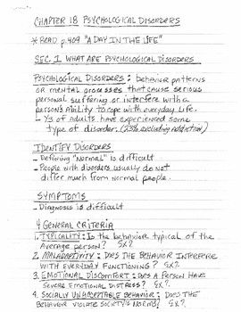Psychological Disorders Lecture Notes | AP Psychology Exam Review