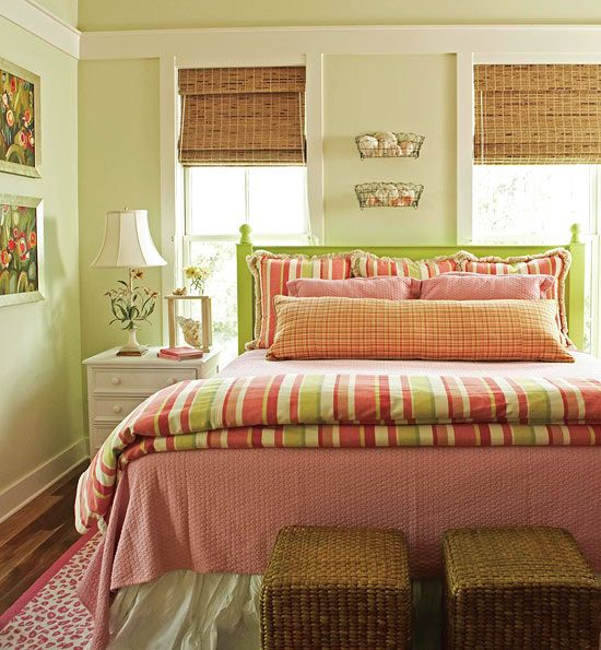 Pillow Talk - Traditional Home® Sherbet colors for a fresh and cheery bedroom.