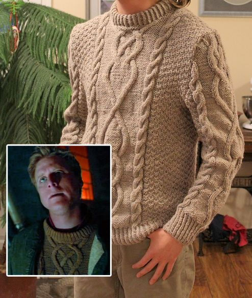 20b2bf99ea0094 Free Knitting Pattern for Firefly Wash s Sweater - Don Yarman recreated the  cabled pullover sweater worn