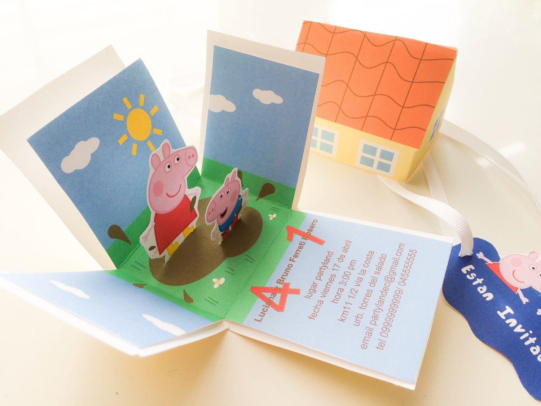 Exploding Box Peppa Pig printable invitations | Box and Pig party
