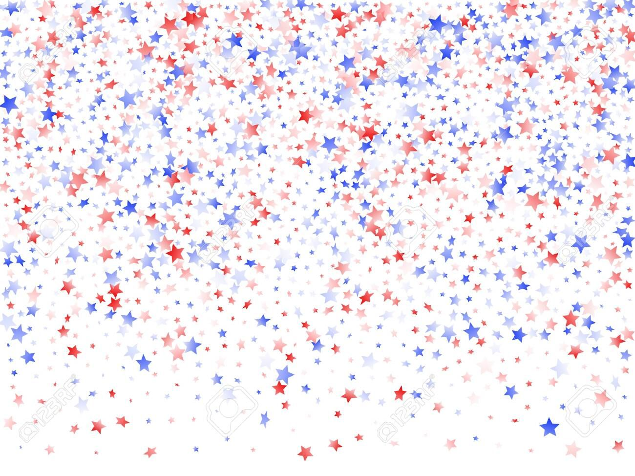 American Memorial Day Stars Background Confetti In Us Flag Colors For Independence Day Simple Red Blue White Red And Blue Patriotic Background Red White Blue