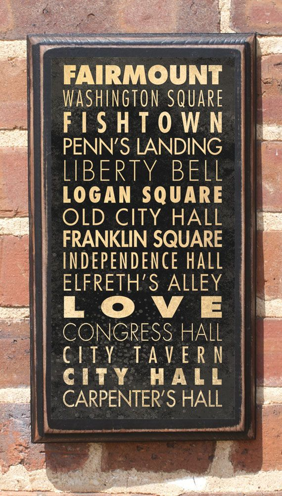 Philadelphia PA Points of Interest & Destinations Wall Art Sign ...