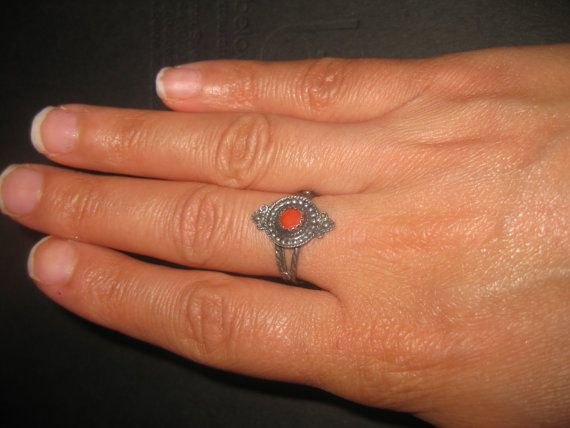 Vintage silver ring red coral ring Berber by AntiquesNejadStyle, $24.00