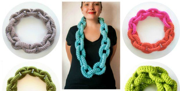 This chain link crochet scarf pattern made us do a double take.  Wow, was it really crochet?  How do you make it?  And wow, it looks so good!  We have to make one.  Or more than one so we can make them in a single color and then try rainbow colors, or even and ombre effect in varying shades of the same color.  The designer says: This favorite accessory doubles as a statement necklace or crochet cowl. It's a perfect beginner's pattern, using only slip stitches and single crochet, with no…