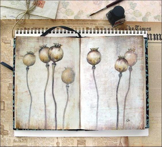 Watercolors by Maria Stezhko (Акварели Марии Стежко): Poppy heads: