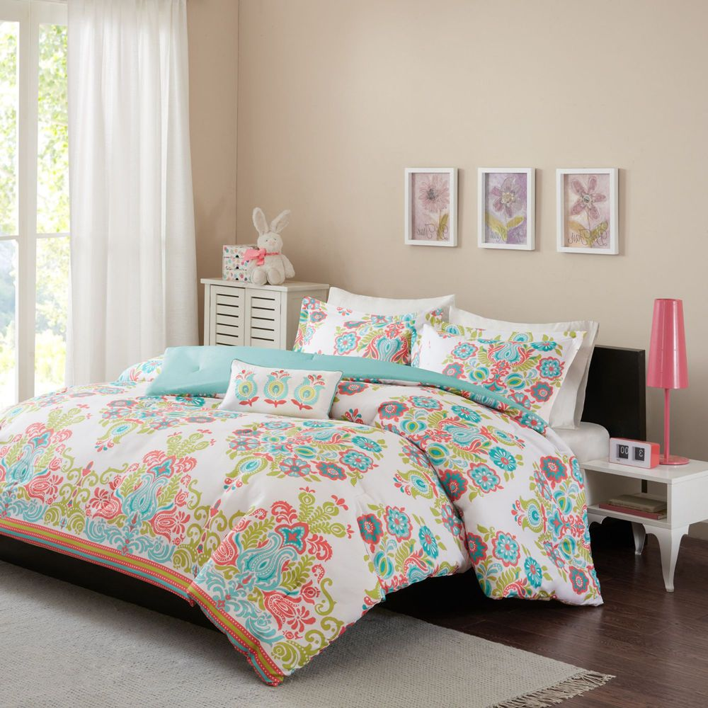 Girls Full Size Comforter Set Coral Teal Blue Damask Pattern Kids