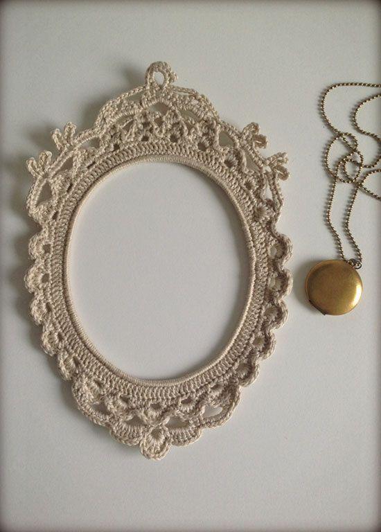 borde de espejo   Tejido crochet   Pinterest   Marcos, Ganchillo y ...