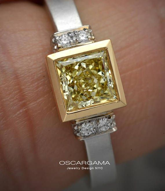 Yellow diamond Engagement ring with a Natural Fancy Intense Yellow