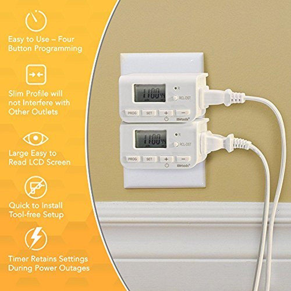 Woods Electrical Outlet Timer Indoor 24-Hour Digital Plug-In 1 ...