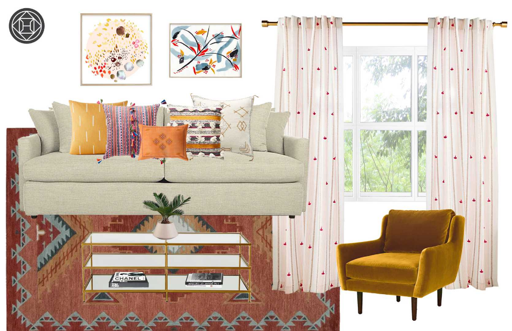 Modern, Eclectic, Bohemian, Midcentury Modern Living Room Design by Havenly Interior Designer Stephanie #havenlylivingroom Modern, Eclectic, Bohemian, Midcentury Modern Living Room Design by Havenly Interior Designer Stephanie #havenlylivingroom