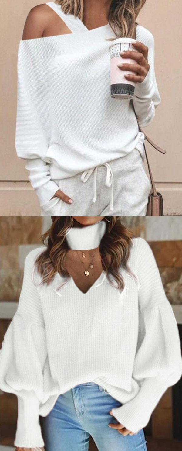 Photo of Women Spring Casual Style White Sweaters #Sweaters #Tops #Spring