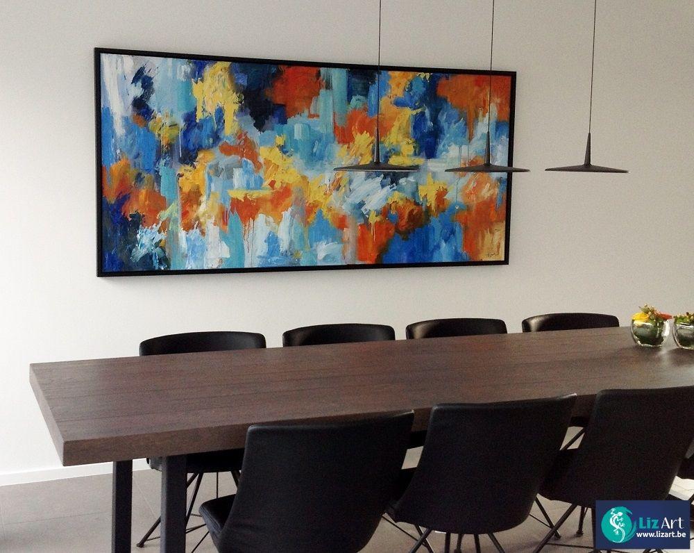 Kleurrijk abstract schilderij in een eetkamer on Lizart http ...