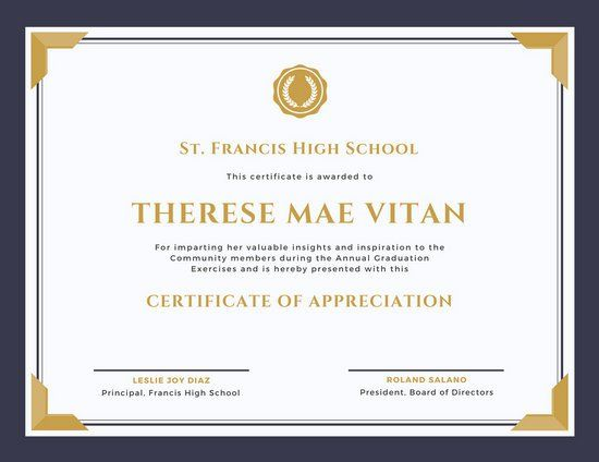 Purple and Gold Bordered Appreciation Certificate Tech Drawer - award of excellence certificate template