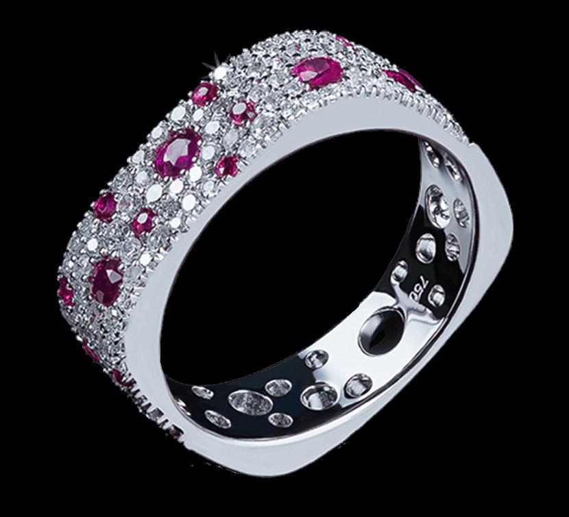 Красивое золотое кольцо великолепного дизайна. Изысканный аксессуар подчеркнет Ваш стильный вкус. Изделие выполнено в трендовом золоте белого цвета. Бриллианты чередуются с драгоценными камнями красного цвета. Предлагаем Вашему вниманию другие украшения ювелирного бренда Nico Juliany.