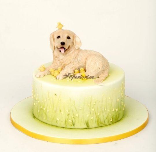 Golden Retriever And Chickens Cake Dog Birthday Cake Dog Cakes