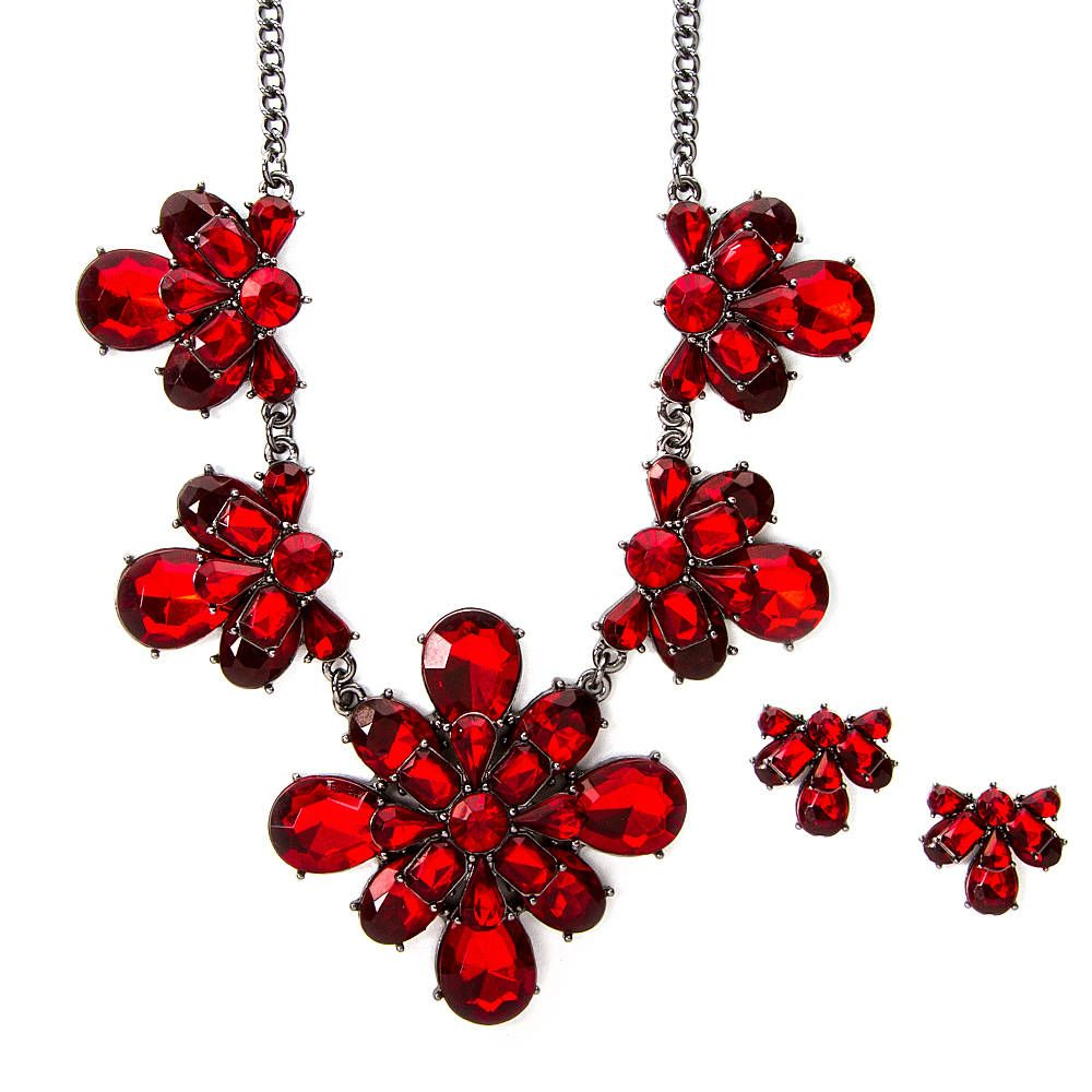 Lela Red Crystal Diamond Cluster Statement Necklace and Earrings Set | Icing