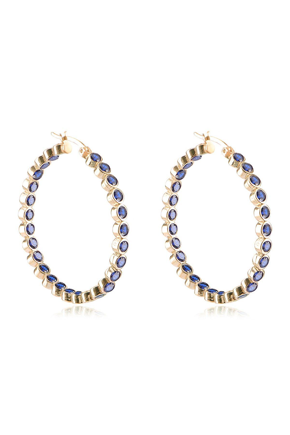 Gab Cos Designs Gold Vermeil Blue Sapphire Hoop Earrings | Fashion ...