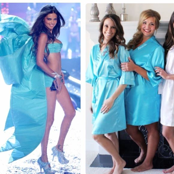 e62410114a6a Victoria s Secret Robe Gorgeous VS short robe kimono in Tiffany blue! One  size. This beautiful robe is in good condition. Some tiny flaws but hardly  ...