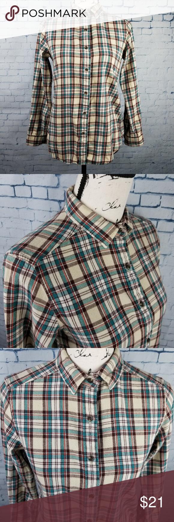 Uniqlo Womenus Flannel Button Down Shirt Size Med  Pinterest