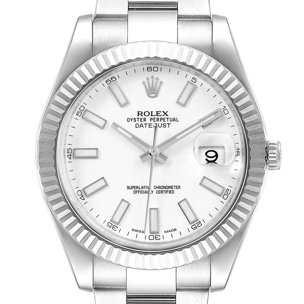 Rolex Datejust II 41mm Steel White Gold Fluted Bezel Mens Watch 116334 #rolexdatejust