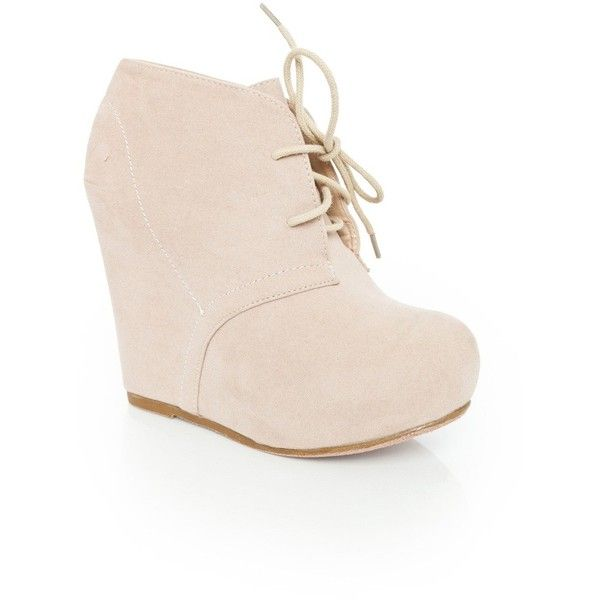Debrah Wedge Boot in Nude (€51) ❤ liked on Polyvore featuring shoes, boots, ankle booties, heels, wedges, sapatos, suede wedge booties, suede lace up booties, lace up heel booties and wedge bootie